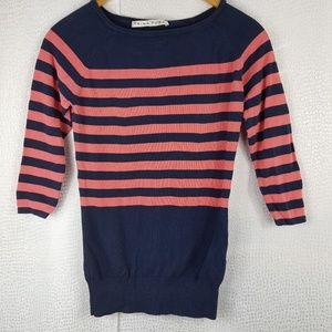 TRINA TURK Pink Navy Color Block Stripe Sweater